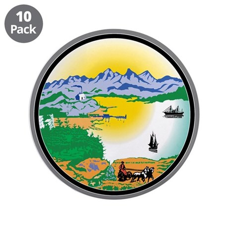 "Alaska State Seal 3.5"" Button (10 pack)"