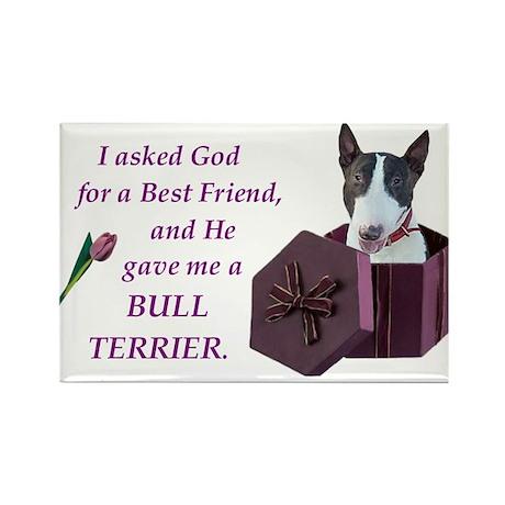 Bull Terrier (White & Black) Rectangle Magnet