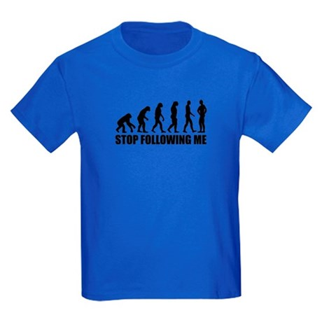 Stop following me evolution Kids Dark T-Shirt