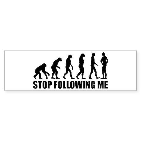 Stop following me evolution Sticker (Bumper)