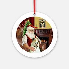 Santa at home with his Borzoi Ornament (Round)