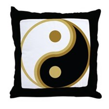 Yin Yang, Gold Throw Pillow