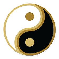 Yin Yang, Gold Round Car Magnet