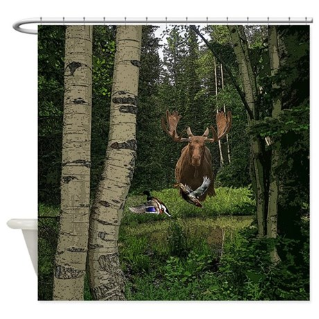 Moose at water hole Shower Curtain