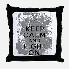 Brain Tumor Keep Calm Fight On Throw Pillow