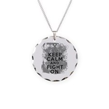 Brain Cancer Keep Calm Fight On Necklace