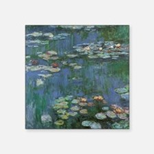 "Claude Monet Water Lilies Square Sticker 3"" x 3"""