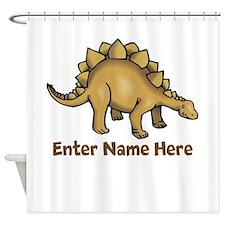 Personalized Stegosaurus Shower Curtain