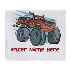 Personalized Monster Truck Throw Blanket