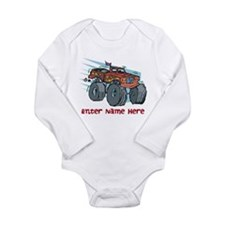 Personalized Monster Truck Long Sleeve Infant Body