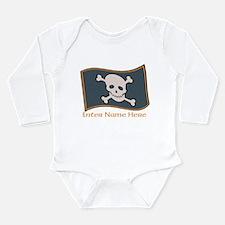 Personalized Pirate Flag Long Sleeve Infant Bodysu