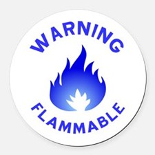 Flammable Warning (blue) Round Car Magnet