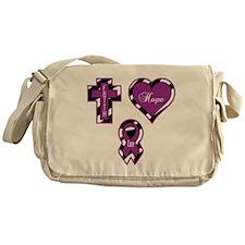 Zebra Faith Hope Cure CF Messenger Bag