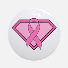Superhero Shield Pink Ribbon Ornament (Round)