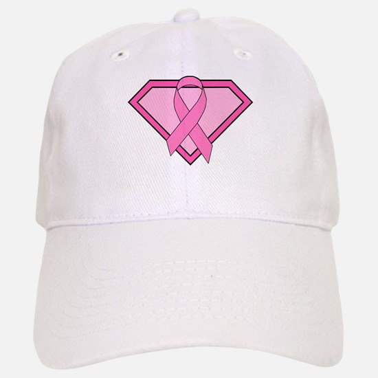Superhero Shield Pink Ribbon Baseball Baseball Cap