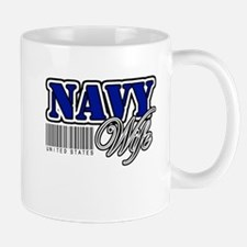 Navy Wife, Blue with barcode Mug
