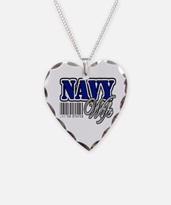 Navy Wife, Blue with barcode Necklace