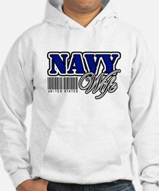 Navy Wife, Blue with barcode Jumper Hoody