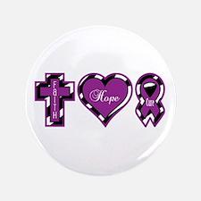 "Zebra Faith Hope Cure CF 3.5"" Button"