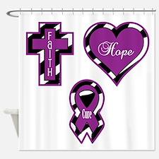 Zebra Faith Hope Cure CF Shower Curtain