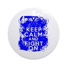 Anal Cancer Keep Calm Fight On Ornament (Round)