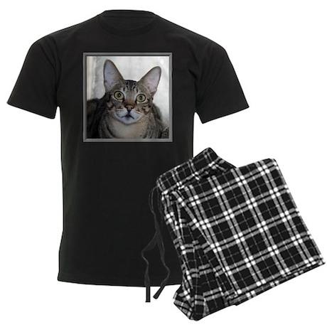 Savannah Cat Portrait Men's Dark Pajamas