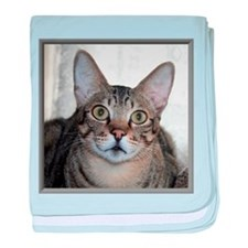 Savannah Cat Portrait with frame baby blanket