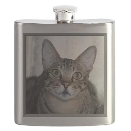 Savannah Cat Portrait with frame Flask