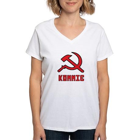 Kommie Hammer & Sickle Women's V-Neck T-Shirt