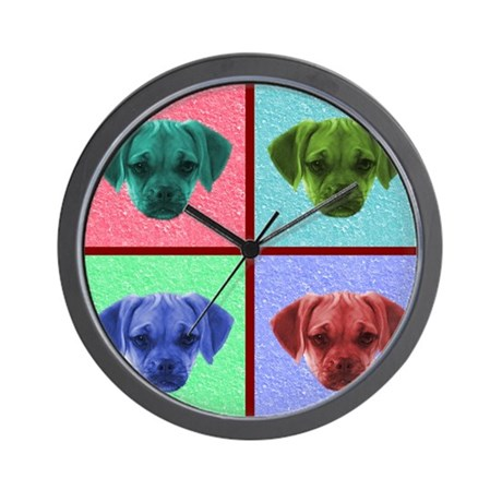 Puggle Art Wall Clock