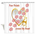 Paw Prints Across My Heart Shower Curtain