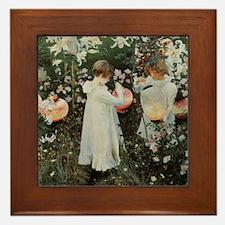 Sargent Carnation, Lily, Lily, Rose Framed Tile