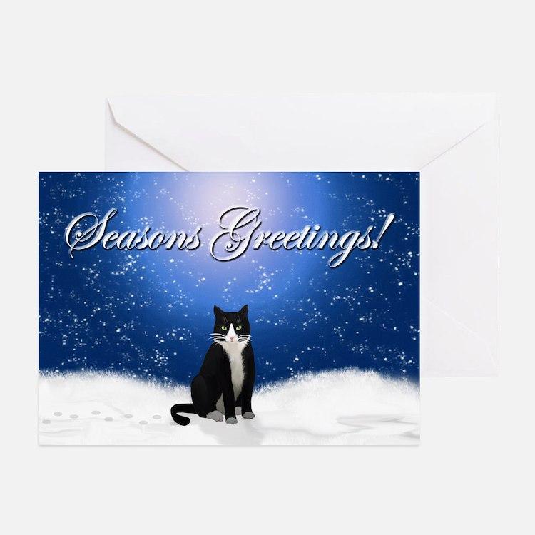 Tuxedo Cat Seasons Greetings Greeting Cards (Pk of