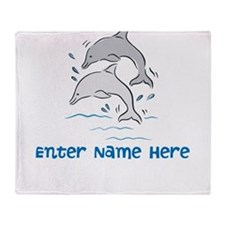Personalized Dolphins Throw Blanket