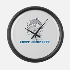 Personalized Dolphins Large Wall Clock