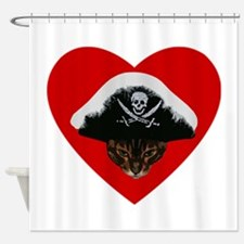 Love Pirate Cat Shower Curtain