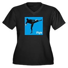 iFight (blue) Women's Plus Size V-Neck Dark T-Shir