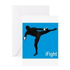 iFight (blue) Greeting Card