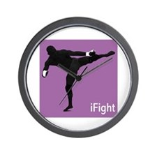 iFight (purple) Wall Clock