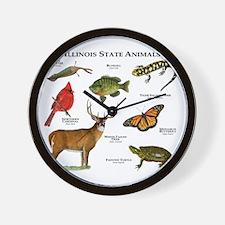 Illinois State Animals Wall Clock