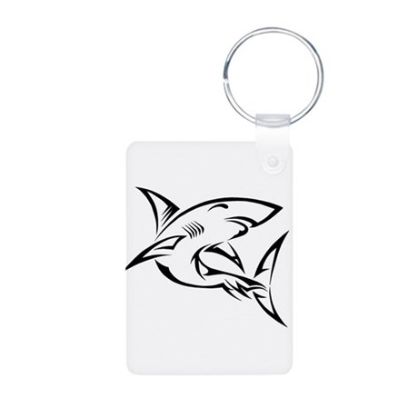 Tribal Shark Aluminum Photo Keychain