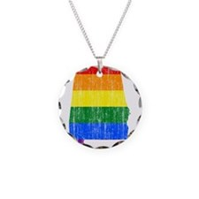 Alabama Rainbow Pride Flag And Map Necklace