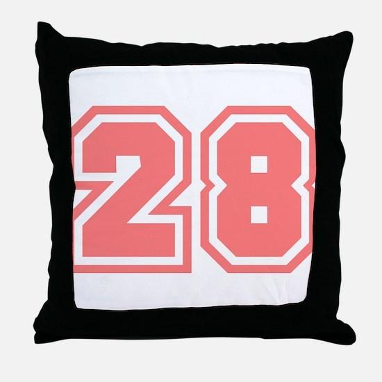Varsity Uniform Number 28 (Pink) Throw Pillow