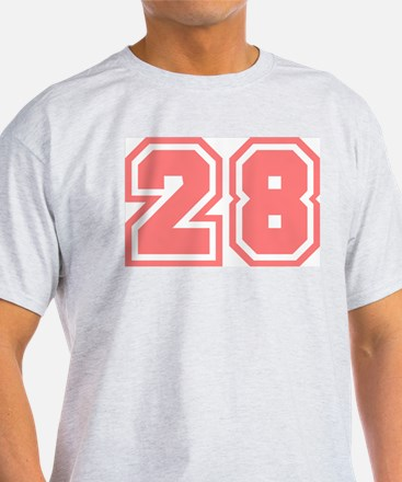 Varsity Uniform Number 28 (Pink) Ash Grey T-Shirt