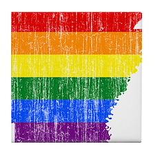 Aransas Rainbow Pride Flag And Map Tile Coaster