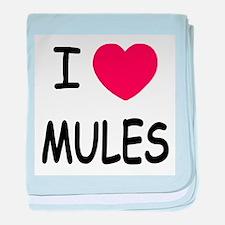 I heart mules baby blanket
