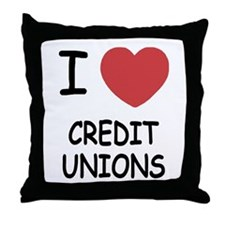 I heart credit unions Throw Pillow