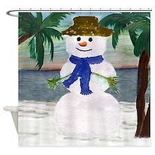 Tropical Snowman Shower Curtain