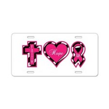 Pink Zebra Faith Hope Cure Aluminum License Plate