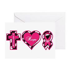Pink Zebra Faith Hope Cure Greeting Card